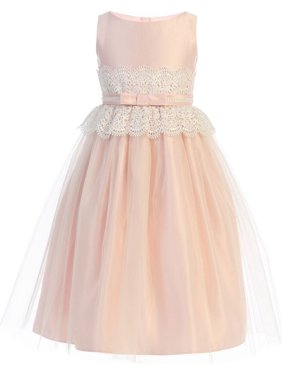 Product Image Little Girls Pink Wide Lace Satin Tulle Pearl Easter Dress fd3d3b854