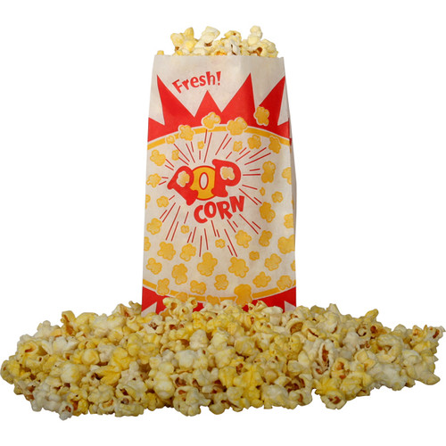 Snappy Popcorn Burst Design Popcorn Bag (Set of 1000) by Fischer Paper Products