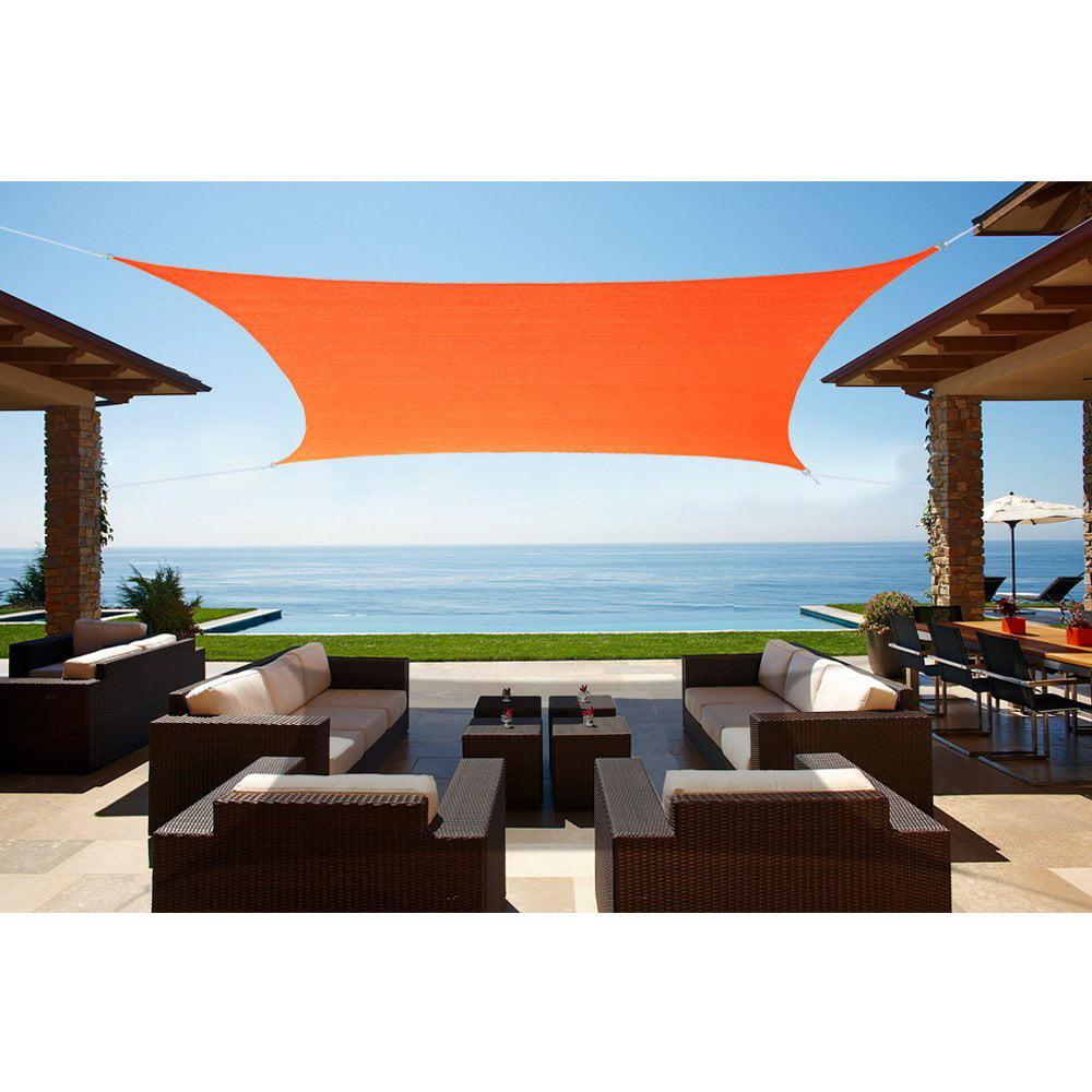 Alion Home Square Tangerine Orange Waterproof Woven Sun Shade Sail