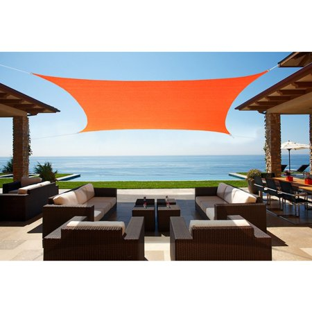 Alion Home Square Tangerine Orange Waterproof Woven Sun Shade Sail