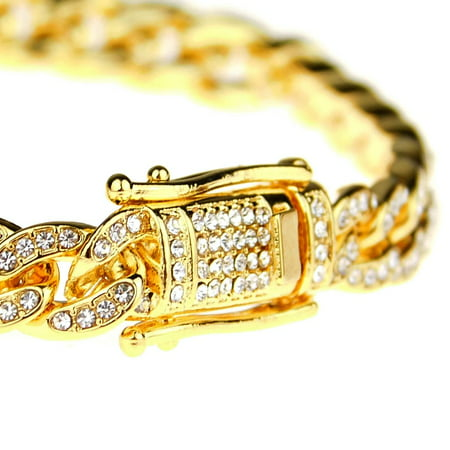 Mens 18k Gold Plated Bling Bracelet Hip Hop Cuban Link Micro Pave 8.5
