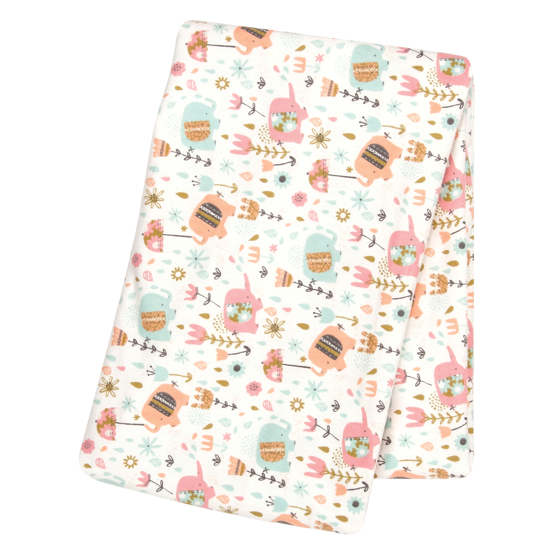Playful Elephants Deluxe Flannel Swaddle Blanket