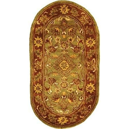Jaipur Green - Safavieh Golden Jaipur Collection GJ250A Handmade Green and Rust Premium Wool Oval Area Rug (7'6