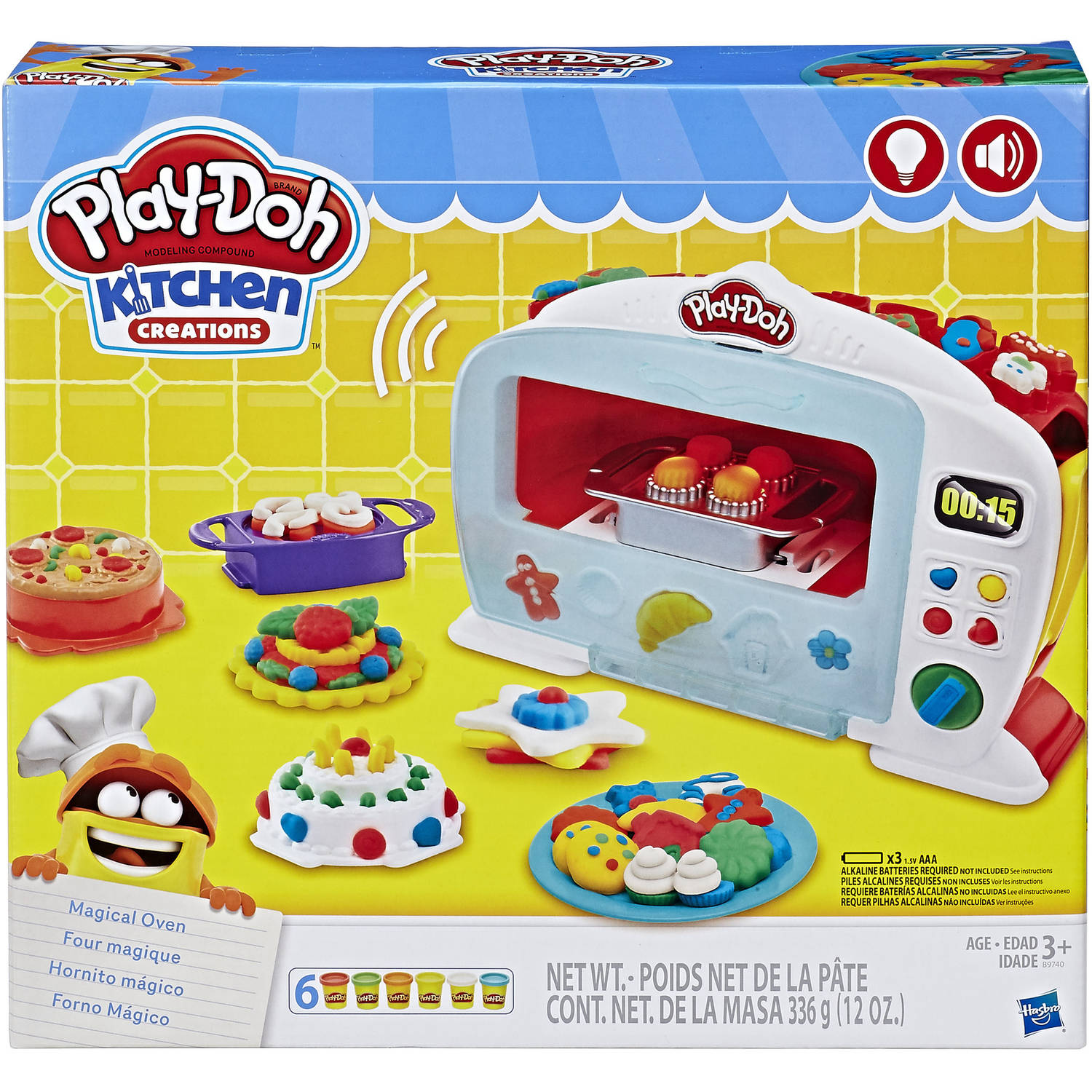 Play Doh Kitchen Creations Magical Oven Food Set With 6 Cans Of