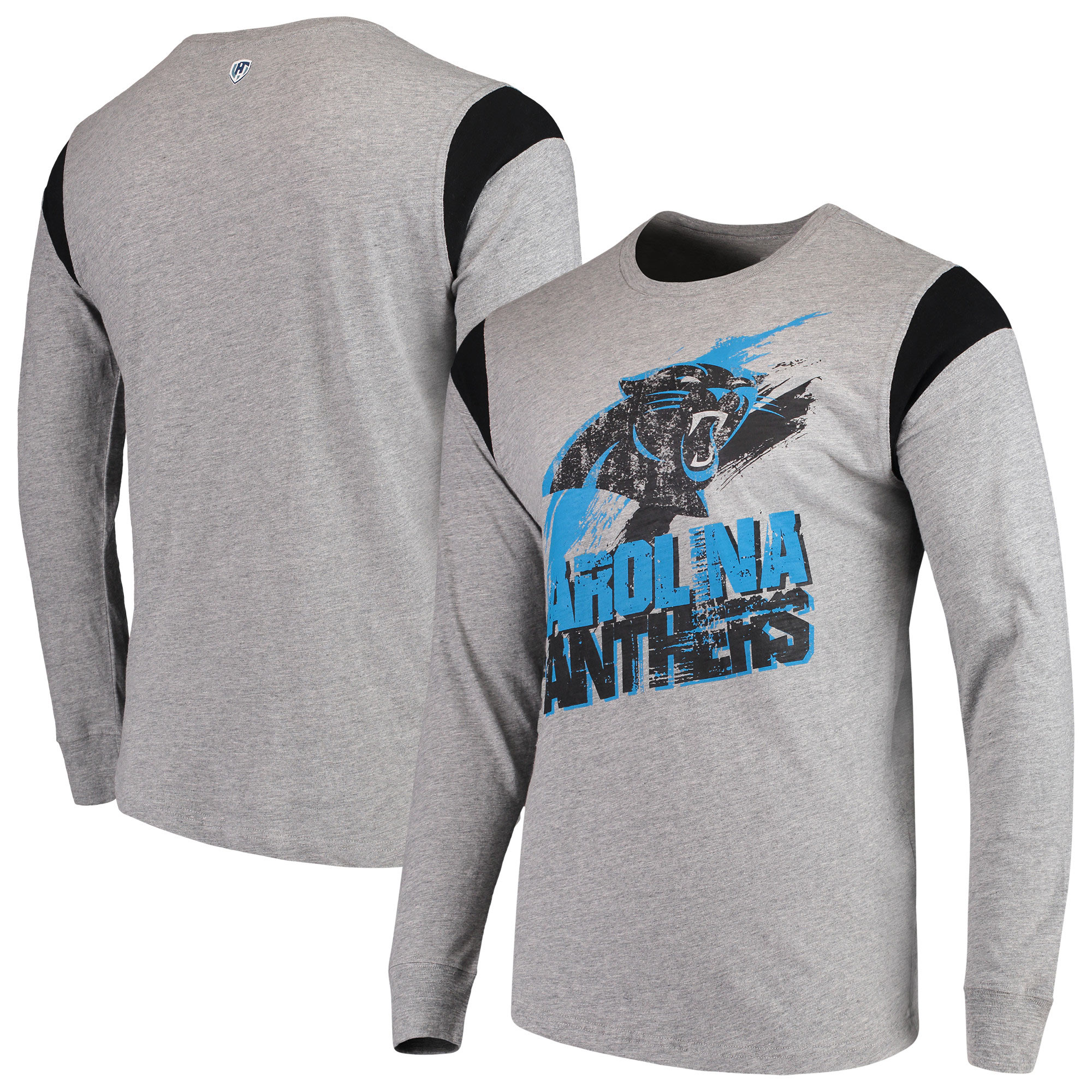 Carolina Panthers G-III Sports by Carl Banks Wide Receiver Long Sleeve T-Shirt - Heathered Gray/Black
