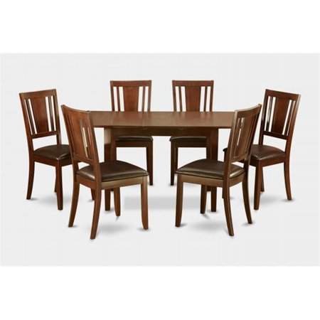 East West Furniture NODU7-MAH-LC Norfolk 7PC Set with rectangular table featured 12 in Butterfly Leaf and 6 Faux Leather Seat chairs (Butterfly Table Chair Set)