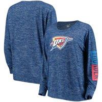 Oklahoma City Thunder New Era Women's Space Dye Knit Tri-Blend Long Sleeve T-Shirt - Heathered Blue
