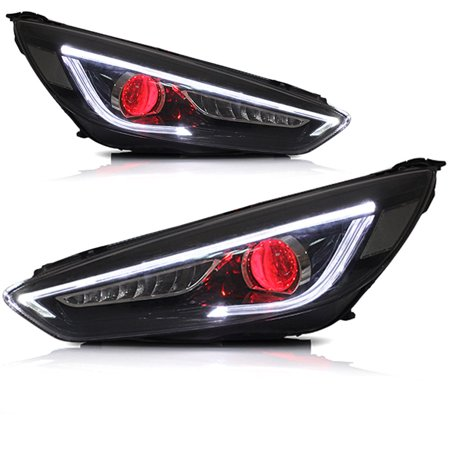 15 18 Ford Focus Black Projector Demon Eye Headlights Led Sequential Signal