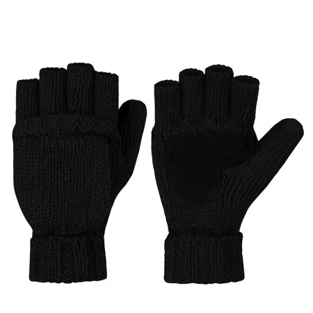 Xcr Womens Mitten - Winter Knitted Gloves-Fitbest Mens Womens Wool Knitted Gloves Winter Gloves Warm Wool Mittens With Mitten Cover