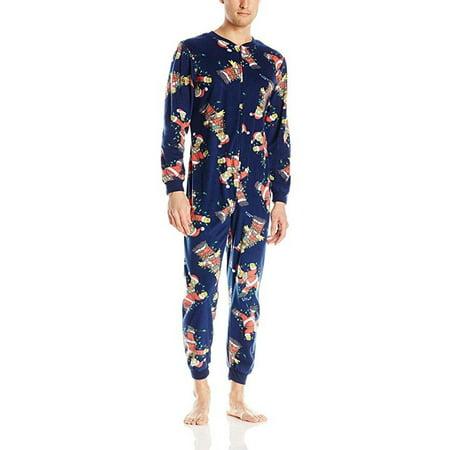 Briefly Stated Mens Simpsons Christmas Lights Onesie One Piece Fleece Pajama, 39845 Multi /
