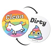 "Emoji And Unicorn Clean Dirty Dishwasher Magnet Sign | Kitchen Label For Home Organization | Funny Novelty Gag Gifts Under 10 Dollars | Double Sided | 2"" Circle Magnets"