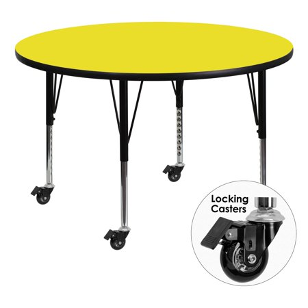 Flash Mobile Diam Round Activity Table Thick Top Adjustable