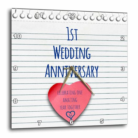 3dRose 1st Wedding Anniversary gift - Paper celebrating 1 year together - first anniversaries - one yr - Wall Clock, 10 by