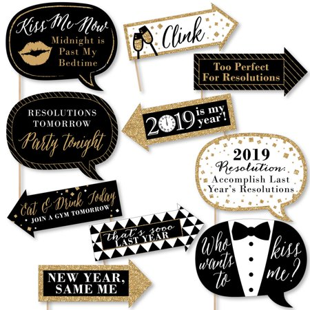 Funny New Year's Eve - Gold - 2019 New Year's Eve Photo Booth Props - 10 Count (Gold And Black Theme)