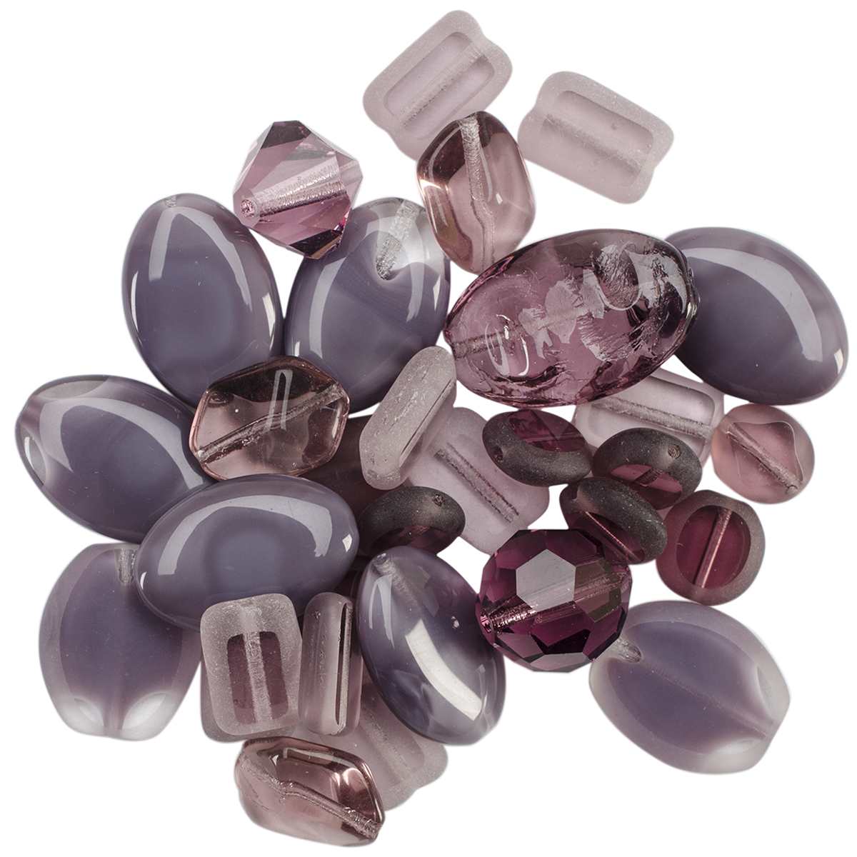 Square Tube Glass Beads 2oz-Sweep Purple Mix