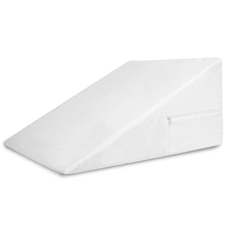 DMI Wedge Pillow for Support Sleeping, Reading, Rest or Elevation to Help Acid Reflux, Sleep Apnea, Back Pain, Minimize Snoring and for Foot and Leg Elevation with Removable Cover, 12x24x24, White -