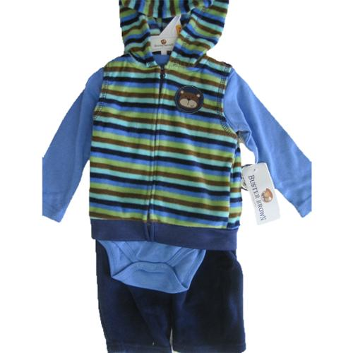 Buster Brown Baby Boys Blue Striped Hooded Vest Onesie 3 Pc Pants Set 0-9M