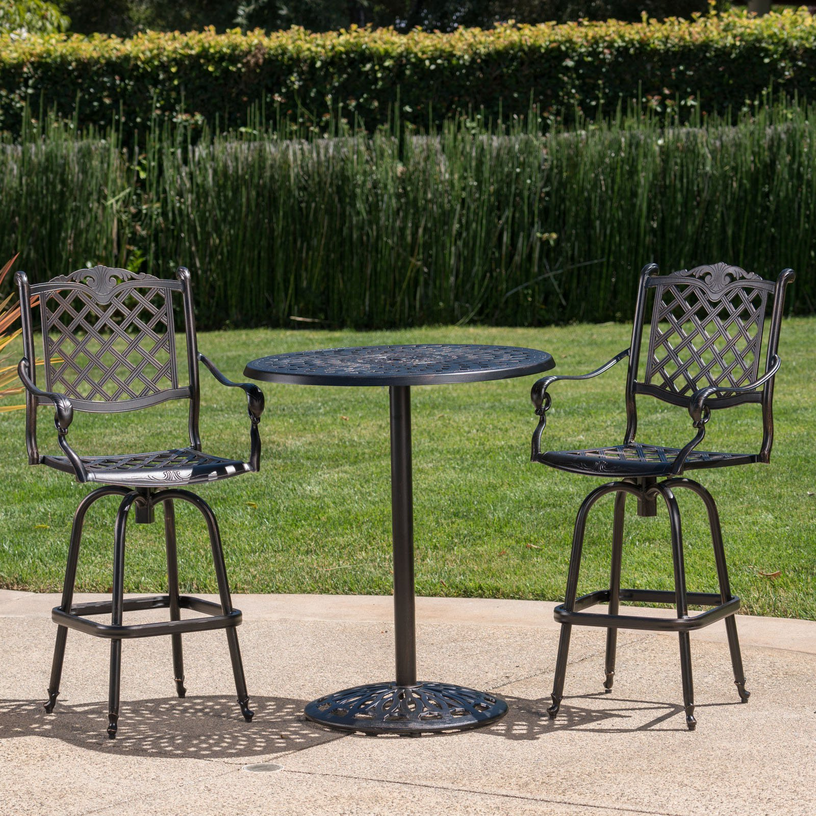 Arlana Cast Aluminum 3 Piece Outdoor Bar Set