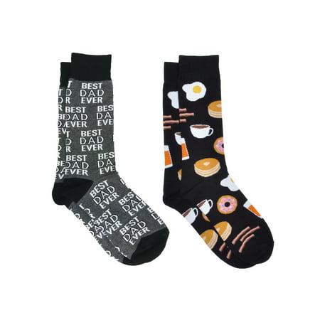 Men's Best Dad Ever Socks Grey and Breakfast Socks All-Over Eggs Bacon