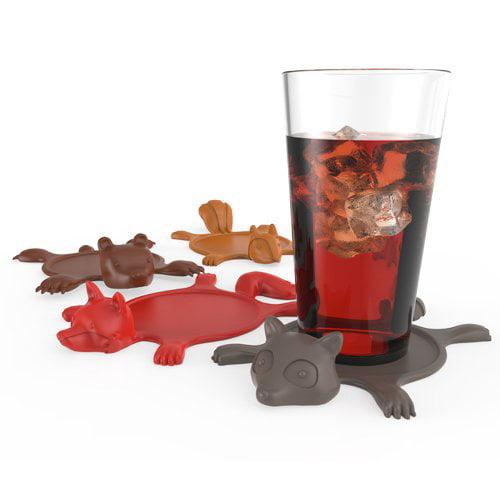 Funny Coasters, Get Smashed Silicone Animal Drinks Coaster Set