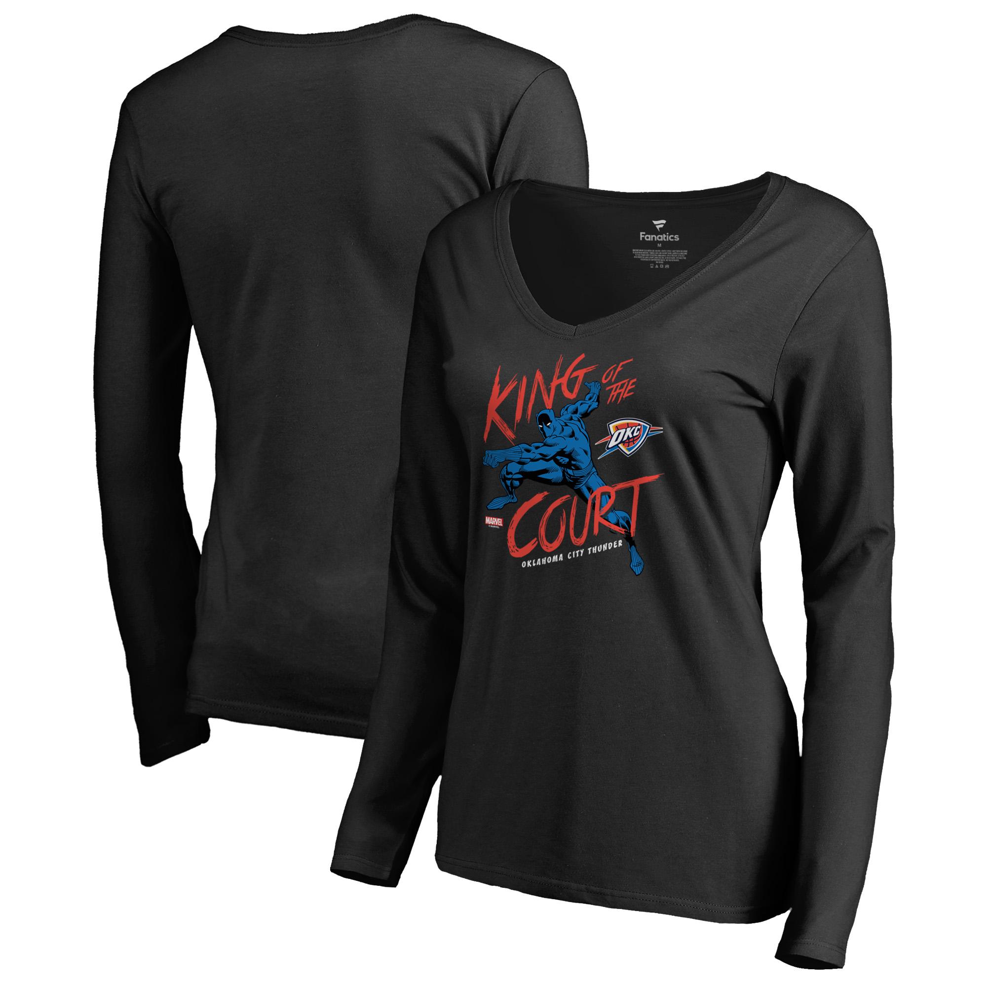 Oklahoma City Thunder Fanatics Branded Women's Marvel Black Panther King of the Court Long Sleeve V-Neck T-Shirt - Black