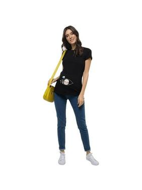 Short Sleeve Maternity Shirt Funny, Black