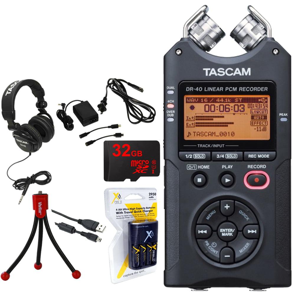 TASCAM Portable Digital Recorder (DR-40) w/Bundle + 32GB ...
