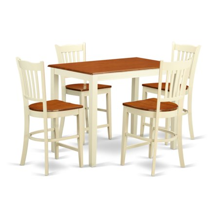 East West Furniture Yarmouth 5 Piece Comb Back Dining Table Set