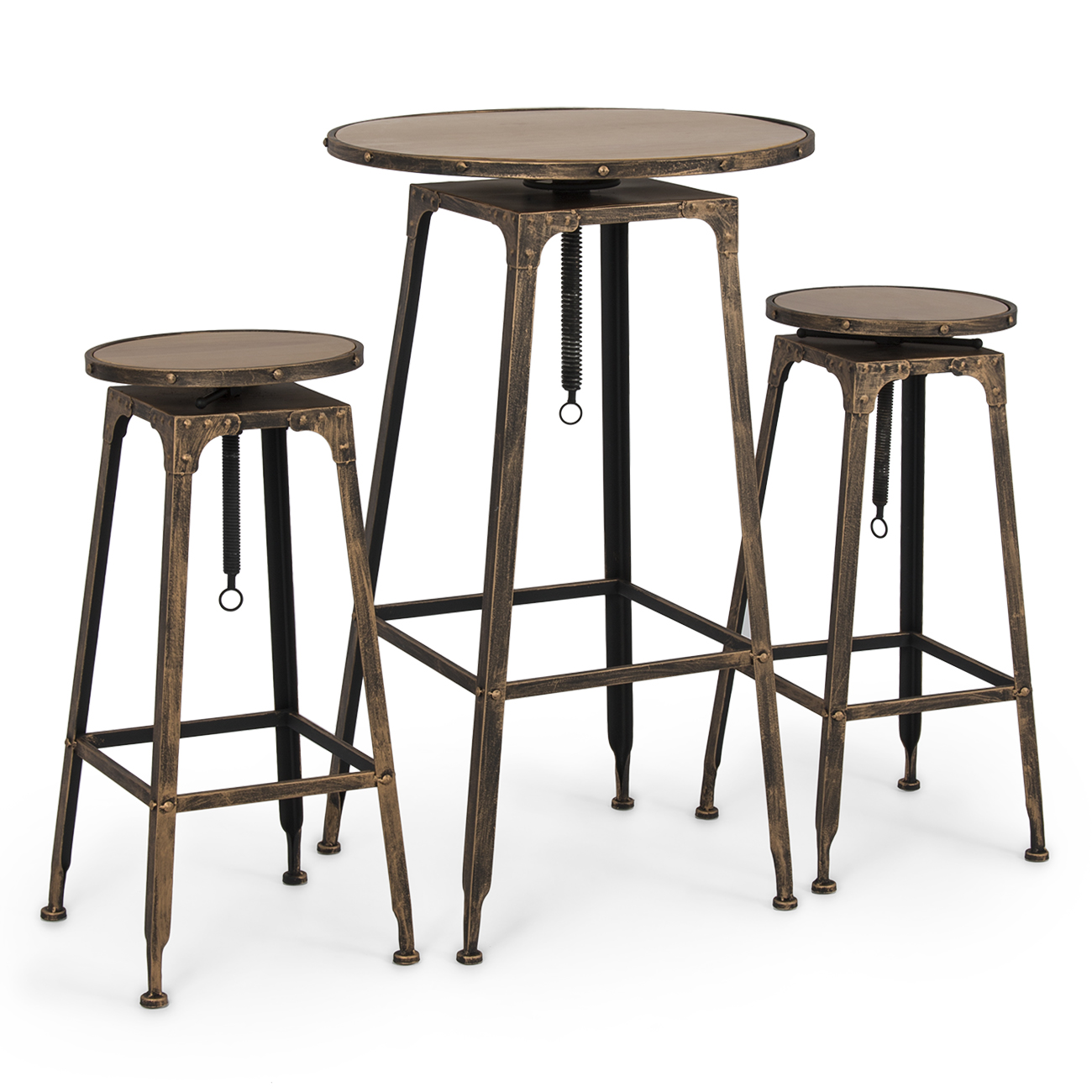 Belleze 3pc Adjustable Pub Table And Stools Vintage