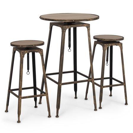 Belleze 3pc Adjustable Pub Table And Stools Vintage