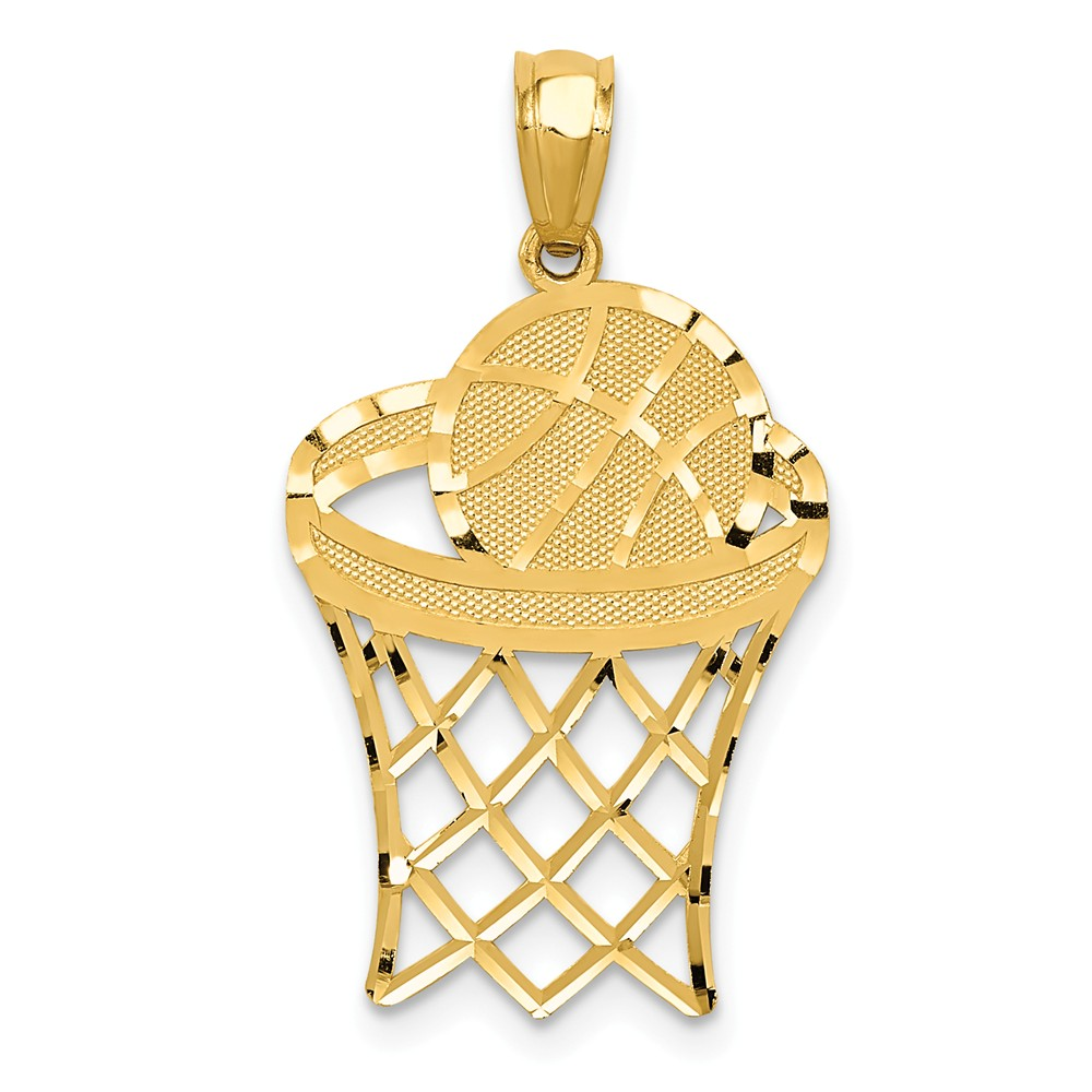 14k yellow gold polished basketball pendant walmart mozeypictures Images