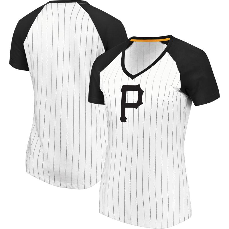 Pittsburgh Pirates Majestic Women's Every Aspect Pinstripe Raglan V-Neck T-Shirt - White
