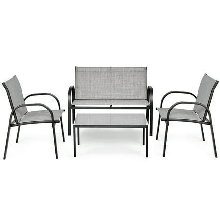Costway 4 PCS Patio Furniture Set Sofa Coffee Table Steel Frame Garden Deck Gray - image 5 of 8