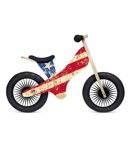 Kinderfeets Retro Wooden Balance Bike, Stars and Stripes