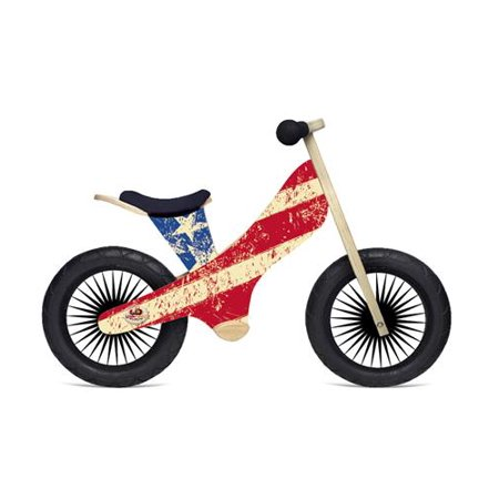 - Kinderfeets Retro Wooden Balance Bike, Stars and Stripes