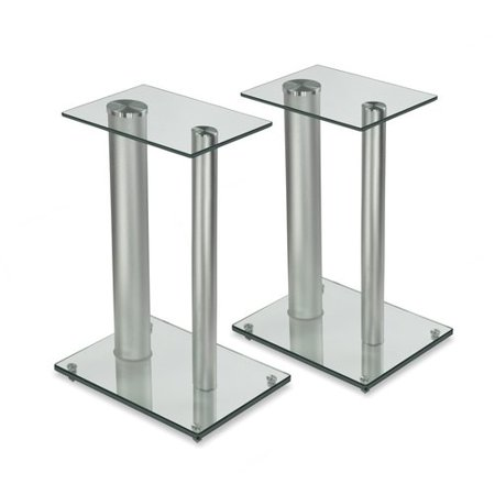 Mount-it Satellite Glass 18.25'' Fixed Height Speaker Stand (Set of