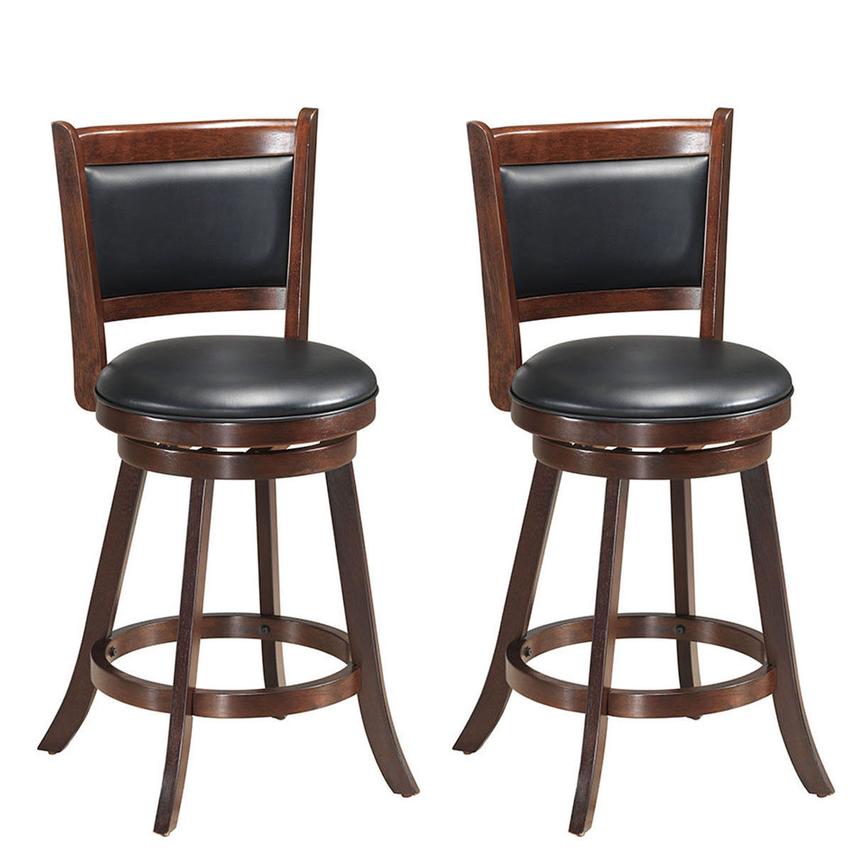 Costway Set Of 2 24'' Swivel Counter Stool Wooden Dining