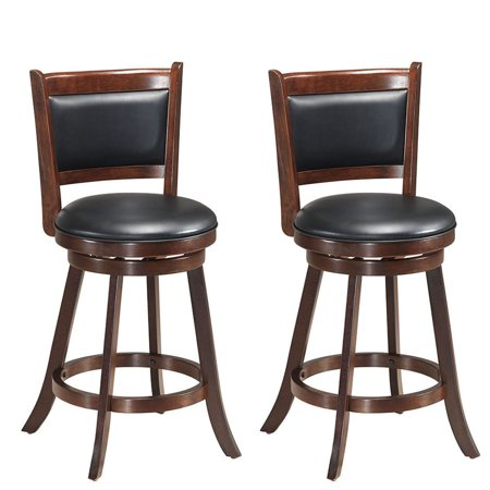 Wooden Swivel (Costway Set of 2 24'' Swivel Counter Stool Wooden Dining Chair Upholstered Seat)