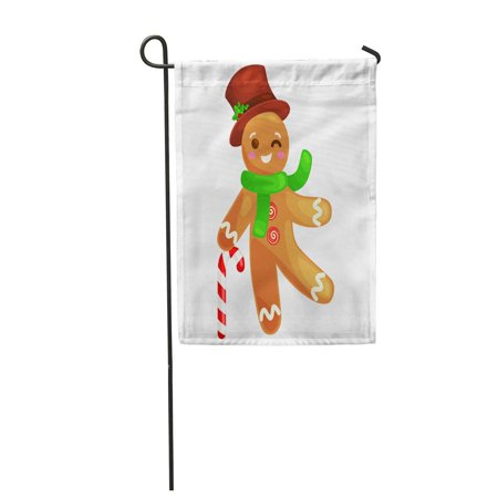 KDAGR Cookies Gingerbread Man Decorated Icing Holding Candy Xmas Sweet Garden Flag Decorative Flag House Banner 12x18 inch