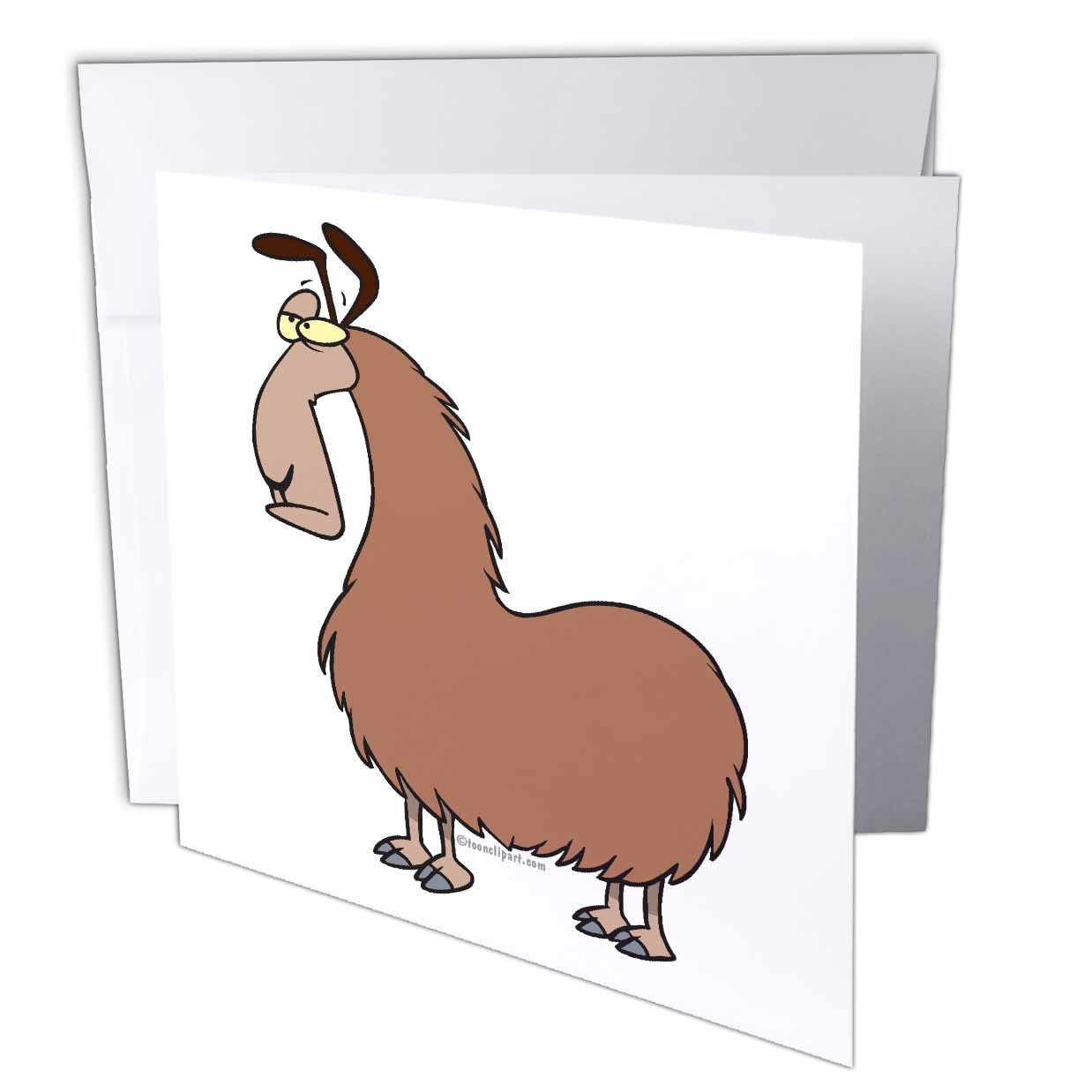 3dRose Goofy Llama Cartoon, Greeting Cards, 6 x 6 inches, set of 12