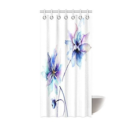 POP Watercolor Flower Shower Curtain, Elegant Flower Drawing with Soft Spring Colors Retro Style Floral Art Bathroom Set, Purple Blue White 36x72 inch - image 1 of 2