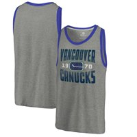 Vancouver Canucks Fanatics Branded Timeless Collection Antique Stack Tri-Blend Tank - Ash