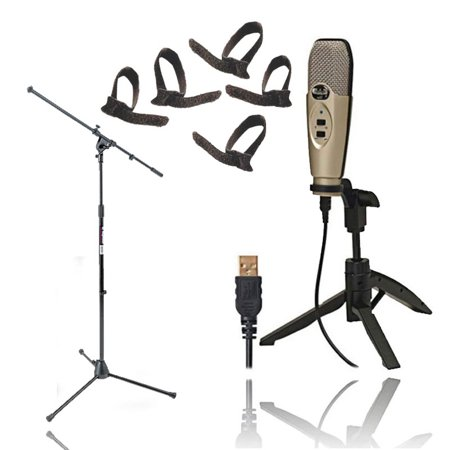 Usb Condenser Recording Microphones (CAD Audio U37 USB Studio Condenser Vocal,Instrument & Recording Microphone With On Stage MS7701B Tripod Boom Microphone Stand + Cable)