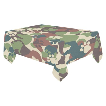 MYPOP Puppy Dog Paw Print Camo Tablecloth Set 60x104 Inches - Camouflage Camo Tablecover Desk Table Cloth Cover for Wedding Party Decor](Camouflage Tablecloths)
