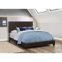 Upholstered Bed, Queen Bed, Brown
