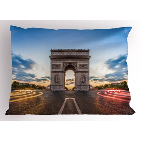 European Pillow Sham Paris Famous Champs Elysees Avenue Historical Monument French Culture Panorama, Decorative Standard King Size Printed Pillowcase, 36 X 20 Inches, Multicolor, by Ambesonne](Champ Kind)