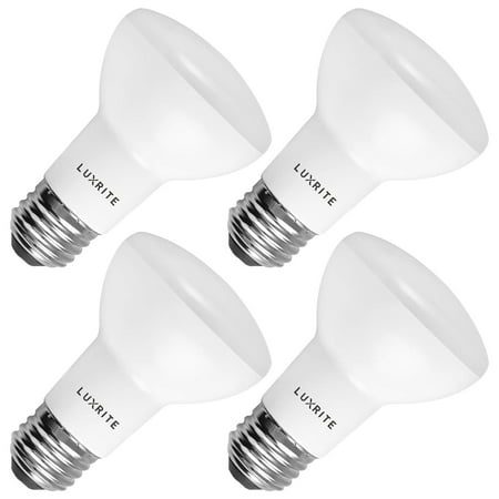 4-Pack R20 LED Bulb, Luxrite, 45W Equivalent, 2700K Warm White, Dimmable, 460 Lumens, BR20 LED Flood Light Bulb, 6.5W, ENERGY STAR, E26 Medium Base, Damp Rated, Perfect for Recessed and Track Lighting