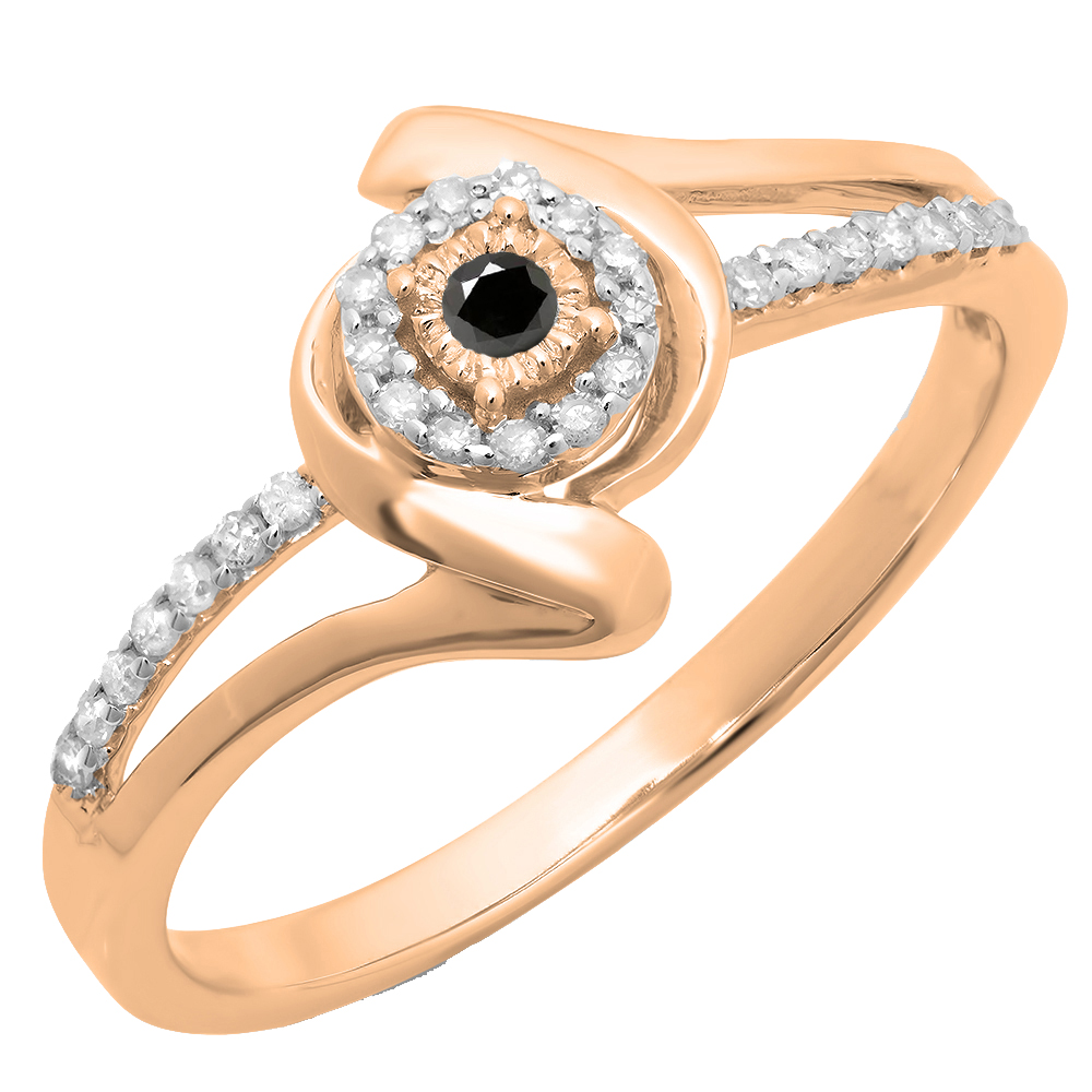 0.15 Carat (ctw) 14K Rose Gold Round Black & White Diamond Ladies Twisted Split Shank Promise Engagement Ring