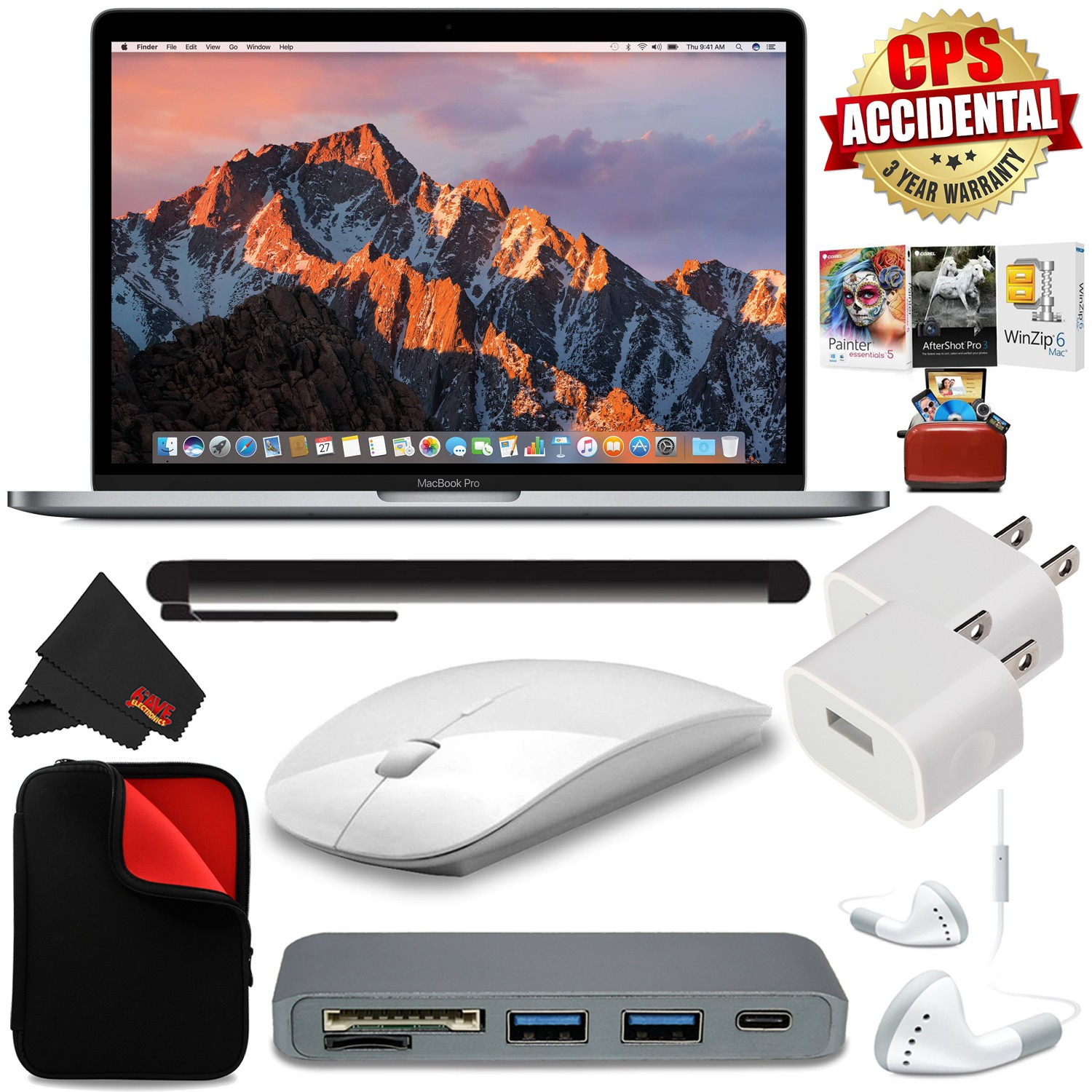 """Apple 13.3"""" MacBook Pro (Mid 2017, Silver) + Travel USB 5V Wall Charger for iPhone/iPad (White) Bundle"""