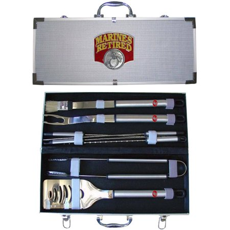 American Heroes 8-Piece BBQ Set with Hard Case, Unites States Marines 'Retired'